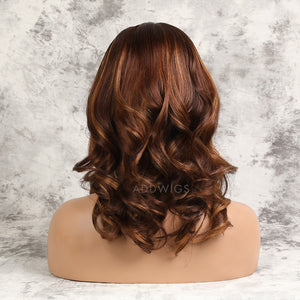 Ronda Remy Hair Lace Front Wigs #Dark Orange/30 Highlights