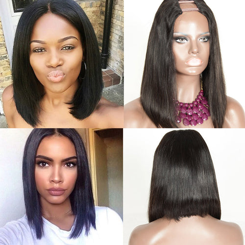 Bob Wig Brazilian Human Hair U Part Wig Natural Color Upart Wigs