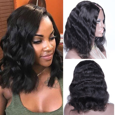 Natural Wave Human Hair U Part Wigs Natural Color Upart Wig