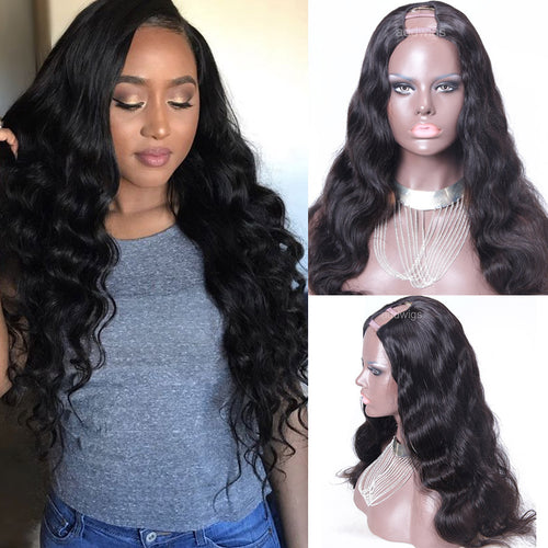 Body Wave U Part Wig Brazilian Hair Upart Wigs For Women 1.5x4