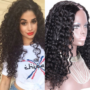 "2020 Hot Sale Loose Curly U Part Wig 1.5*4"" Middle Side Upart Wigs"