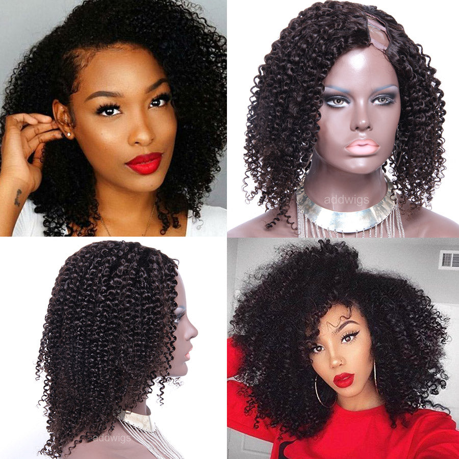 Upart Wigs Afro Kinky Curly U Part Human Hair Wig For Black Women