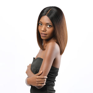 Adara Virgin Hair Glueless Lace Front Wigs Ombre #1B/#4