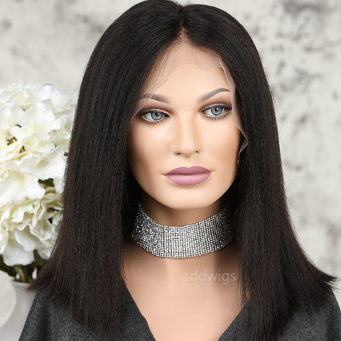 Short Italian Yaki Human Hair Wigs Short Bob 360 Lace Frontal Wigs