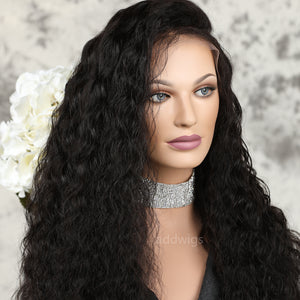 Loose Curly Full Lace Human Hair Wigs Free Part Natural Black For Women