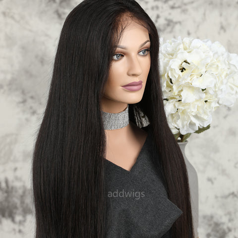 "Silk Straight Lace Front Wig 13*6"" Deep Part Human Hair Lace Wigs"