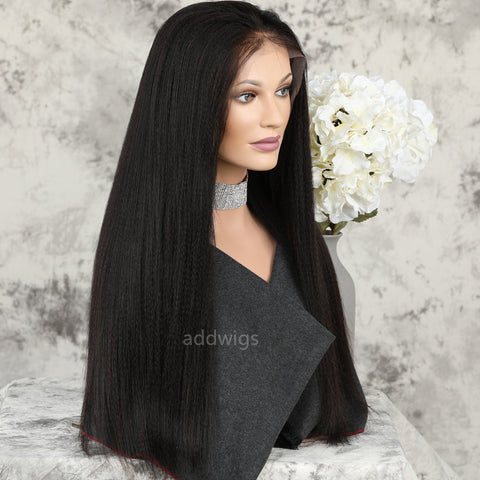 Italian Yaki Straight 360 Lace Frontal Wig Medium Yaki Texture