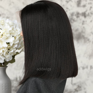 Short Italian Yaki Human Hair Wigs Short Bob Full Lace Wigs