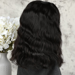 Short Wavy Human Hair Wigs Best Sale 5x5 Inches Lace Closure Bob Wig