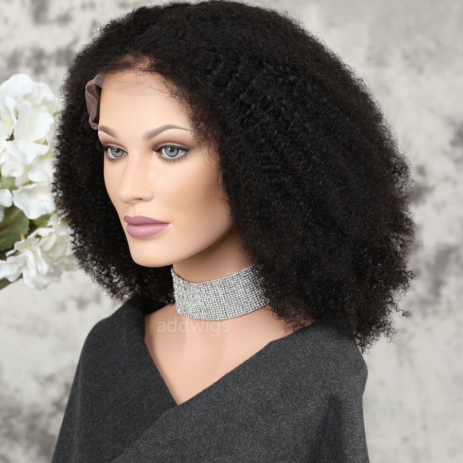Afro Kinky Curly Human Hair Lace Front Wigs For Black Women UK