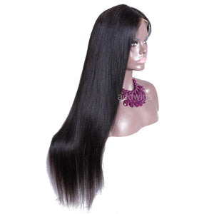 Middle Part African American Wigs Silk Straight Human Hair Wigs
