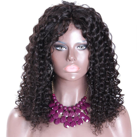 Pre-plucked African American Human Hair Wigs Loose Kinky Curly