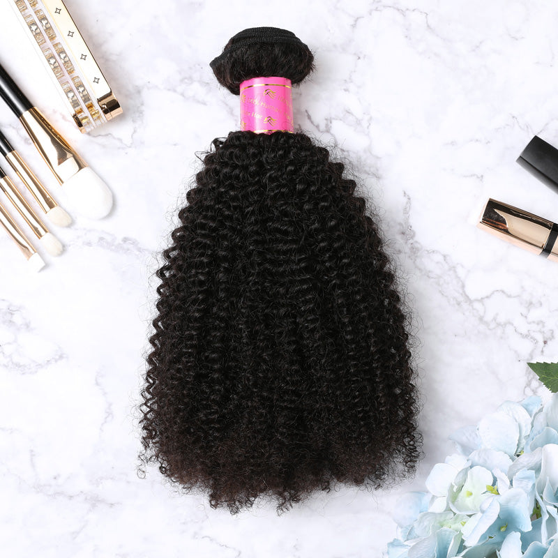 4 Bundles With Lace Closure Malaysian Human Hair Afro Kinky Curly Hair Weave With Closure