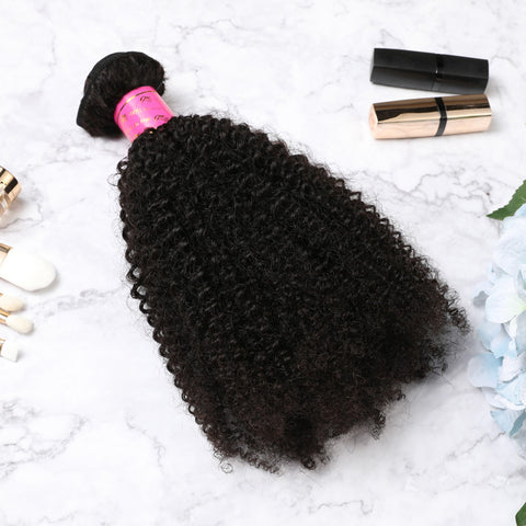 3 Bundles With Lace Closure Malaysian Human Hair Afro Kinky Curly Hair Weave With Closure