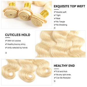 3 Bundles With Lace Frontal #613 Blonde Human Hair Body Wave Hair Weave With Frontal