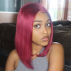 Burgundy Human Hair Fashion Bob Wig 2018 Summer Colorful Lace Wigs