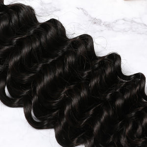 2 Bundles With Lace Closure Malaysian Human Hair Deep Curly Hair Weave With Closure