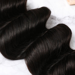 3 Bundles With Lace Closure Malaysian Human Hair Deep Wave Hair Weave With Closure