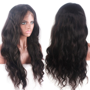 Natural Wavy Full Lace Wig Human Hair Lace Wigs with Baby Hair