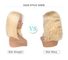 Hot Selling #613 Blonde Bob Wavy Human Hair Lace Wigs