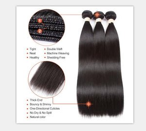3 Bundles With Lace Closure Malaysian Human Hair Straight Hair Weave With Closure