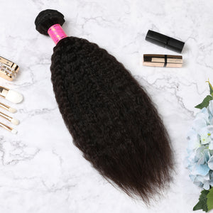 3 Bundles With Lace Frontal Malaysian Human Hair Kinky Straight Hair Weave With Frontal