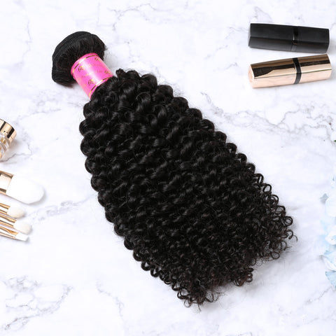2 Bundles With Lace Frontal Malaysian Human Hair Kinky Curly Hair Weave With Frontal