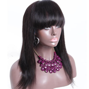"Lace Front Wigs Silk Straight With Bang 13*6"" Deep Part Lace Wig"