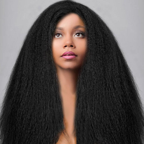 Kinky Straight Full Lace Wig Natural Color Lace Wigs For Black Women