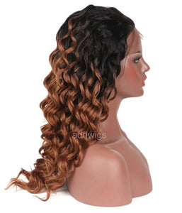 Ombre Lace Front Wigs Two Tone Colors #1bT#30 Human Hair Wigs