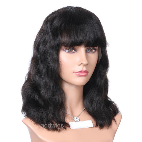 Natural Wavy Short Bob Wigs With Bang 100% Human Hair Lace Front Wigs
