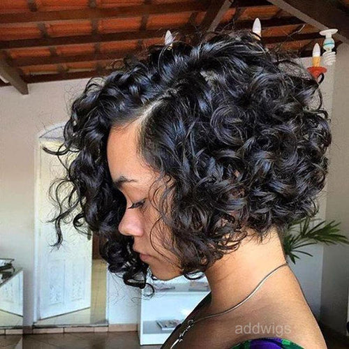 10 inch Short Curly Bob Wigs 100% Human Hair Lace Front Wigs