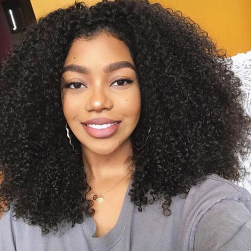 Afro Kinky Curly Human Hair Lace Front Wigs For Black Women