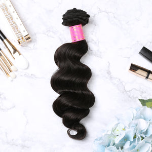 3 Bundles With Lace Frontal Malaysian Human Hair Loose Deep Hair Weave With Frontal