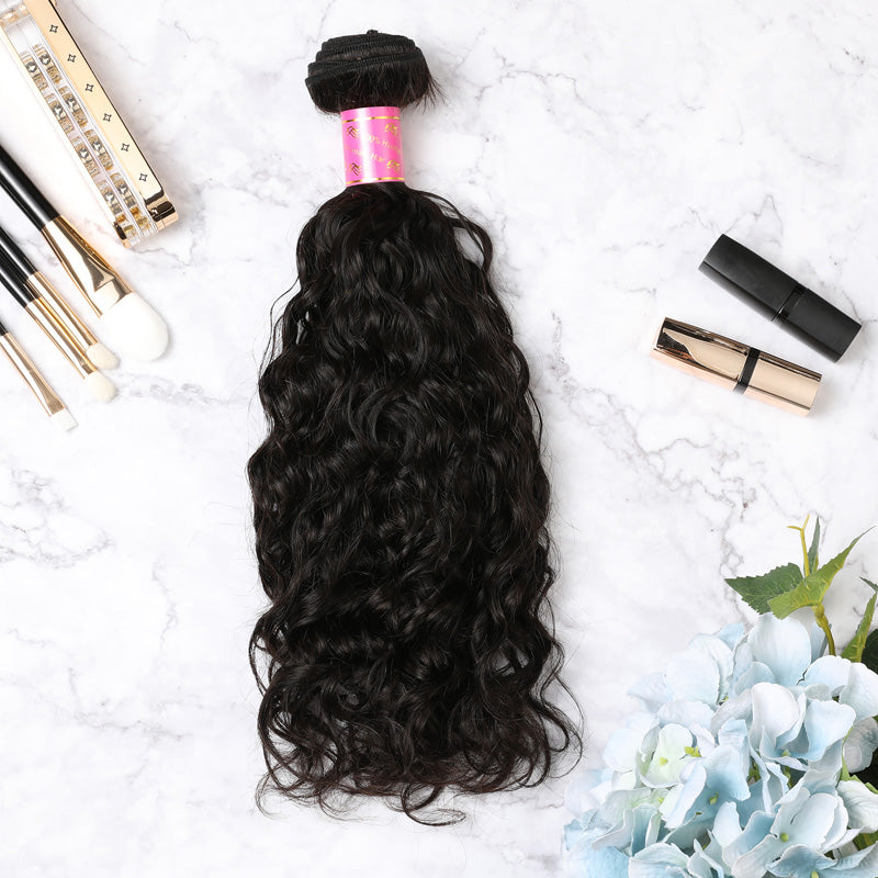 2 Bundles With Lace Frontal Malaysian Human Hair Natural Curly Hair Weave With Frontal