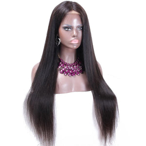 Middle Part Scalp Top Wig Silky Straight Lace Front Human Hair Wigs