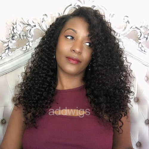 Fashion Tight Curly Fake Scalp Human Hair Wigs For Black Women