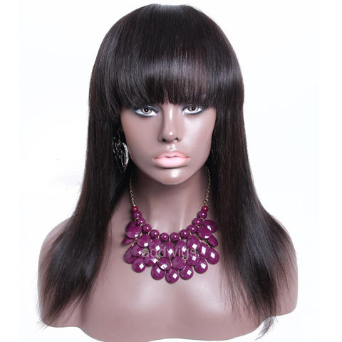 Silk Straight With Bang Natural Black Silk Base Human Hair Lace Wig