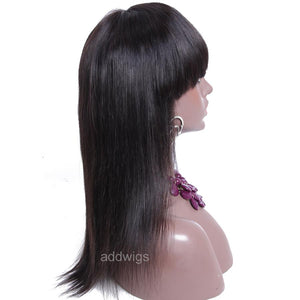 Silk Straight With Bang Scalp Top Human Hair Lace Front Wig