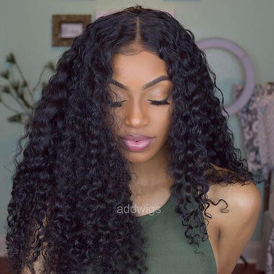 Pre-plucked Loose Kinky Curly Fake Scalp Human Hair Lace Front Wigs