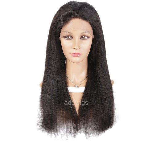 Italian Yaki Straight Fake Scalp Human Hair Wig Medium Yaki Texture