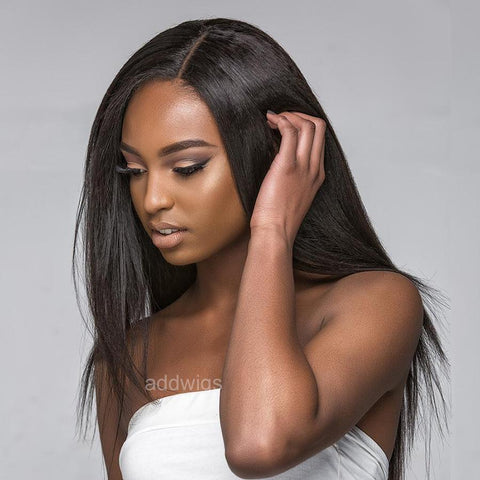 Straight Light Yaki Fake Scalp Lace Front Human Hair Wigs for Black Women