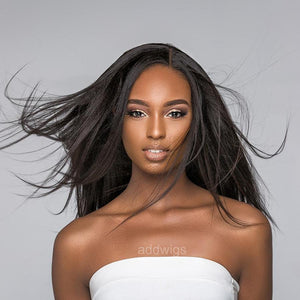 Straight Light Yaki Silk Base Human Hair Wigs for Black Women