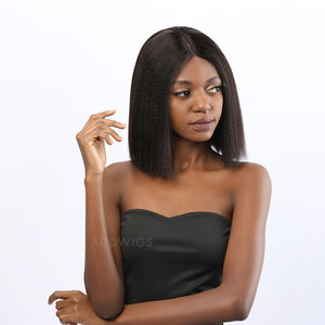 Teresa Virgin Hair Glueless Lace Front Wigs Yaki Bob