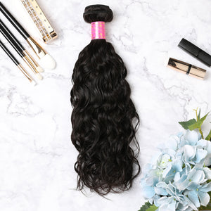 3 Bundles With Lace Frontal Malaysian Human Hair Natural Wave Hair Weave With Frontal