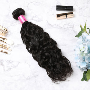 3 Bundles With Lace Closure Malaysian Human Hair Natural Wave Hair Weave With Closure