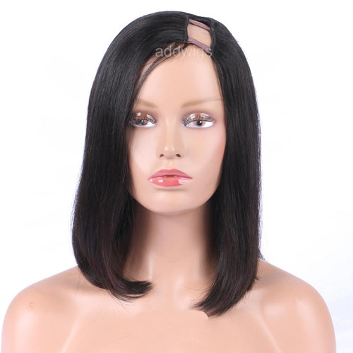Straight Bob Wig Left Part Short Human Hair U Part Wigs
