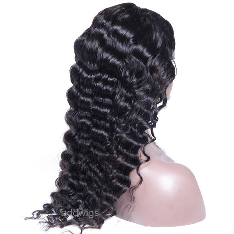 Classic Deep Wave U Part Human Hair Wig Middle Side Part Upart Wigs