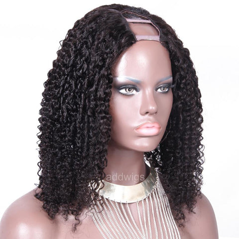 Tight Curly Brazilian U Part Human Hair Wigs Middle Part Upart Wig