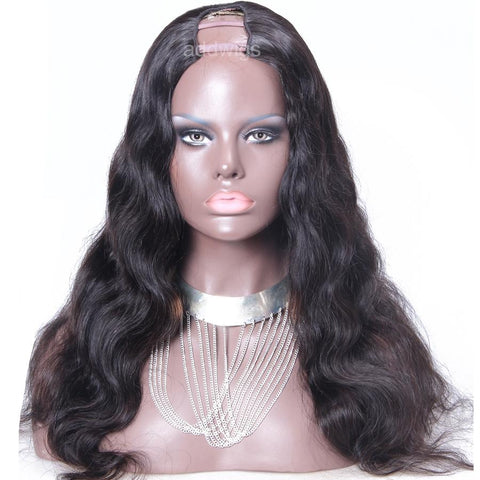 "Body Wave U Part Wig Brazilian Hair Upart Wigs For Women 1.5x4"" Middle Part"